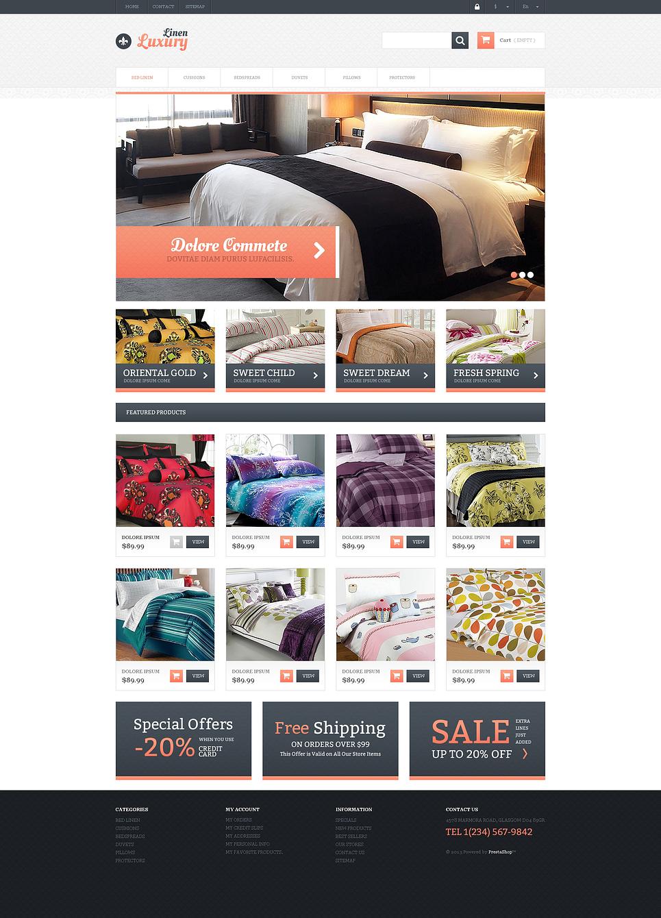 Excellent Responsive Linen Store PrestaShop Theme