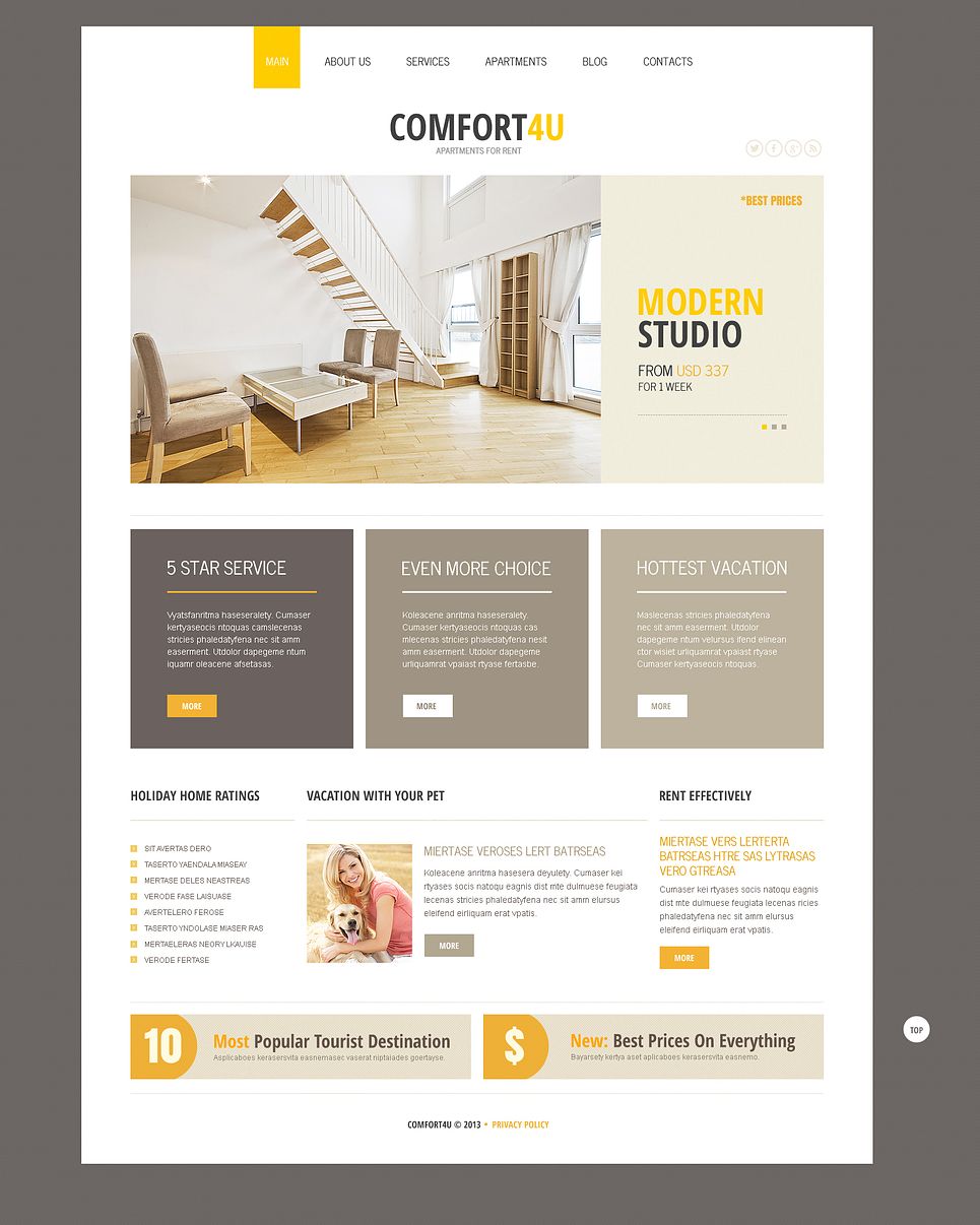 An Elegant Square Based Design Real Estate Joomla Template