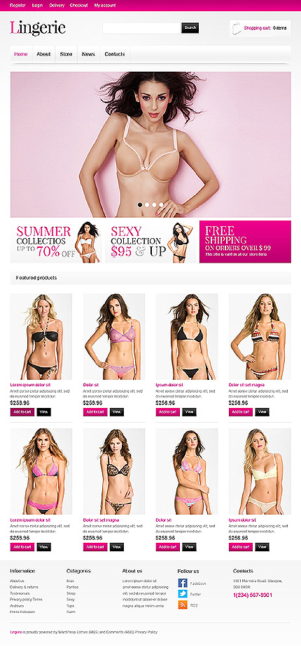 View live Demo for Lingerie Store - Sexy Responsive WordPress Jigoshop Theme