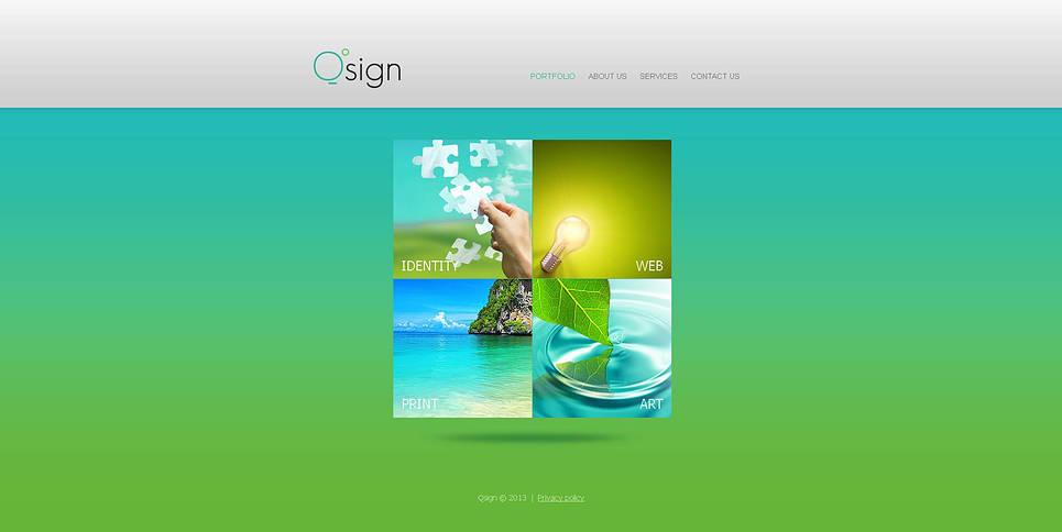 Blue-Green Portfolio Website Template - image