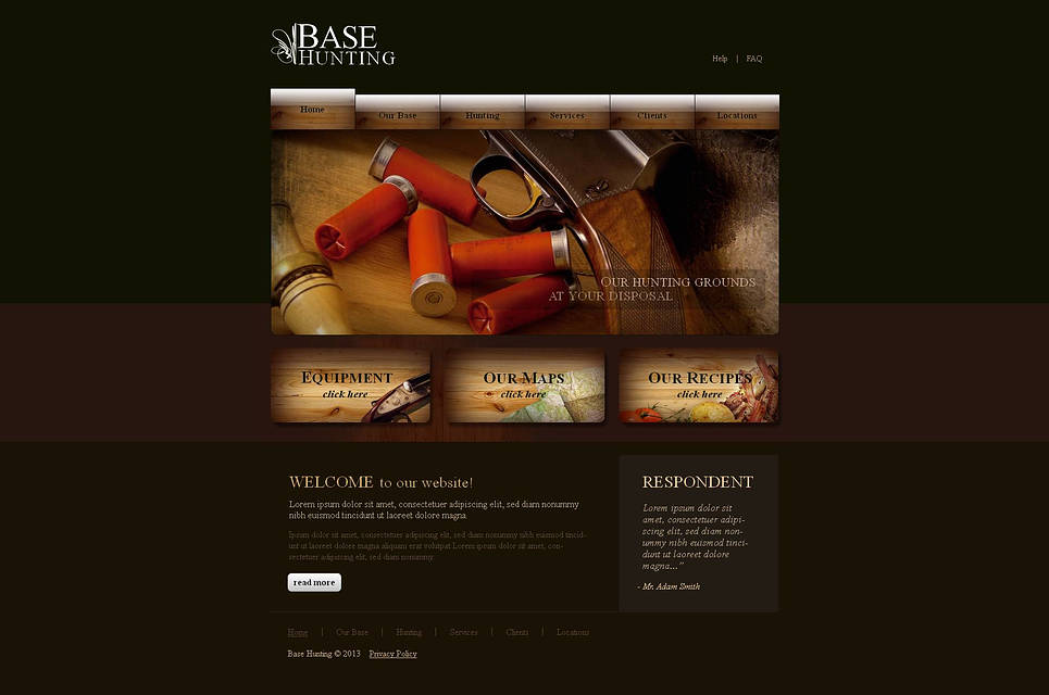 Dark Website Template for Hunting Clubs - image