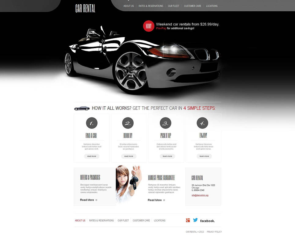 Car Rental Website Template with White Background - image