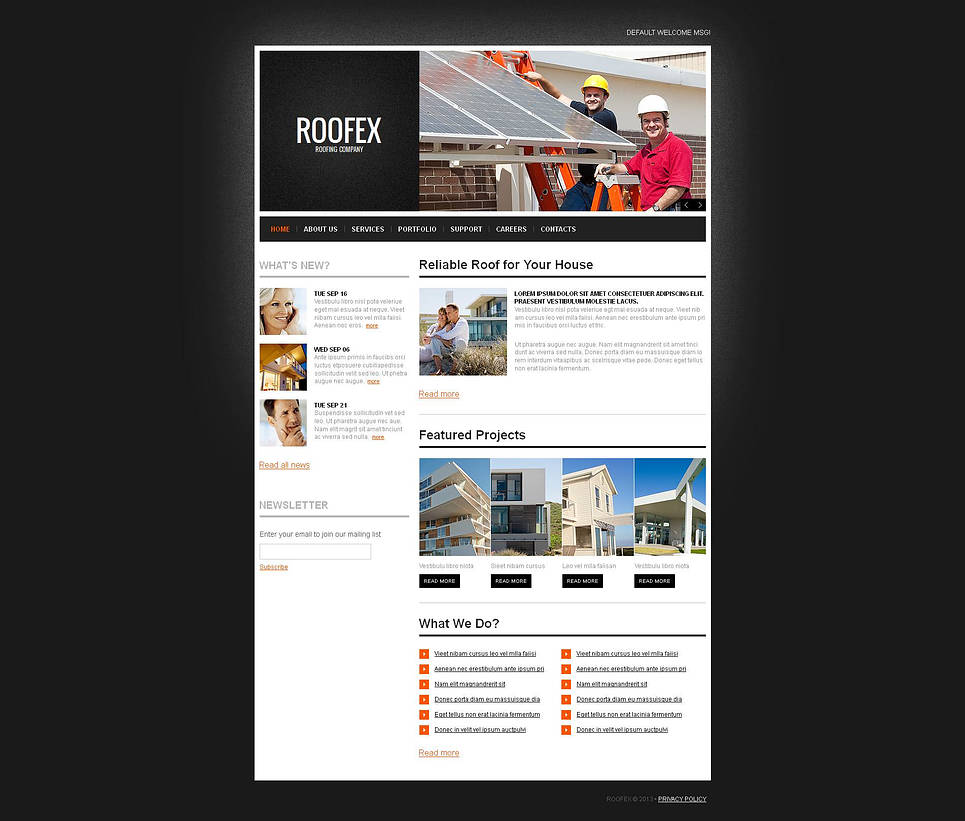 Roofing Company Website Template with CMS - image