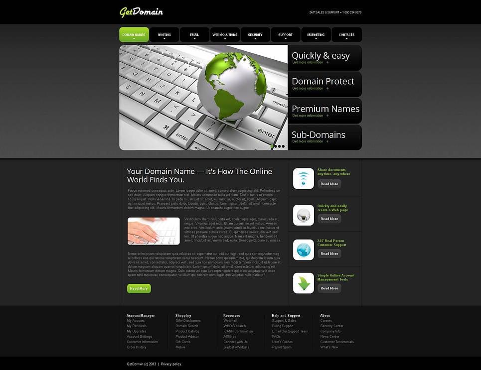 Vorlage der Webvisitenkarte für einen Domain-Name-Registrar - image