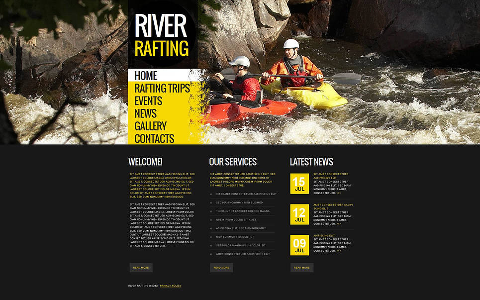 Sport Website Template for River Rafting Clubs and Teams - image