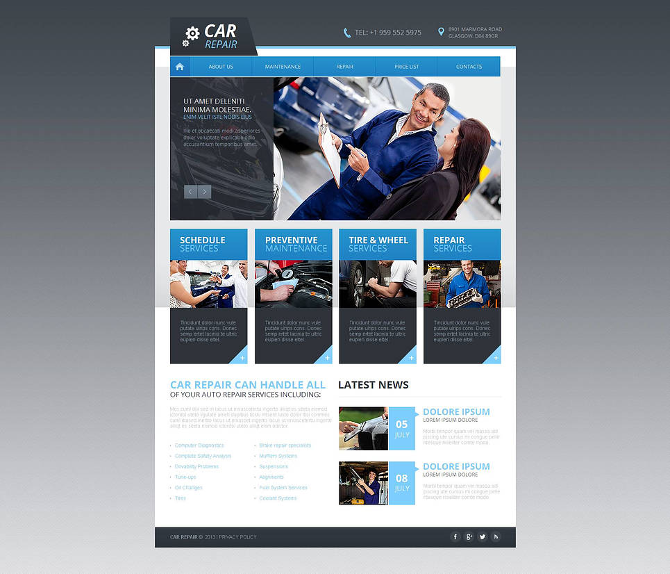 Car Repairs Website Template with jQuery Slider - image