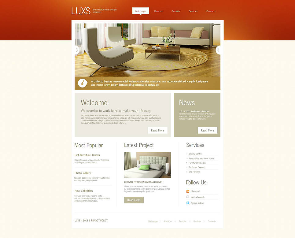 Furniture Website Template with Red Header - image