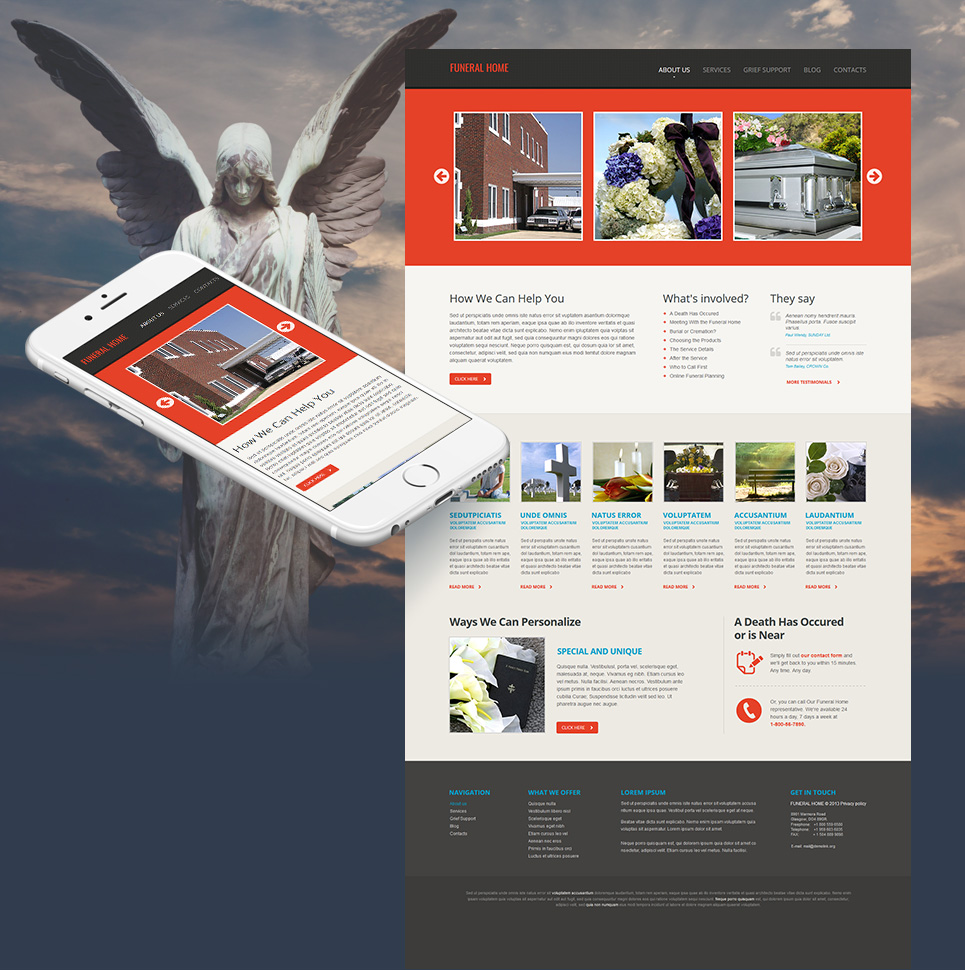 Funeral Home Website Template with White Background - image