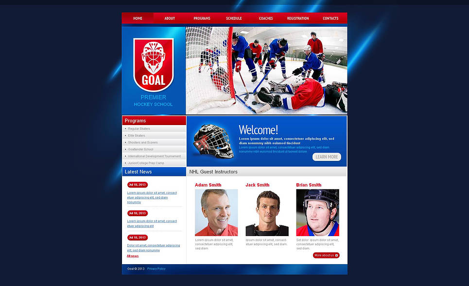 Hockey School Website Template - image