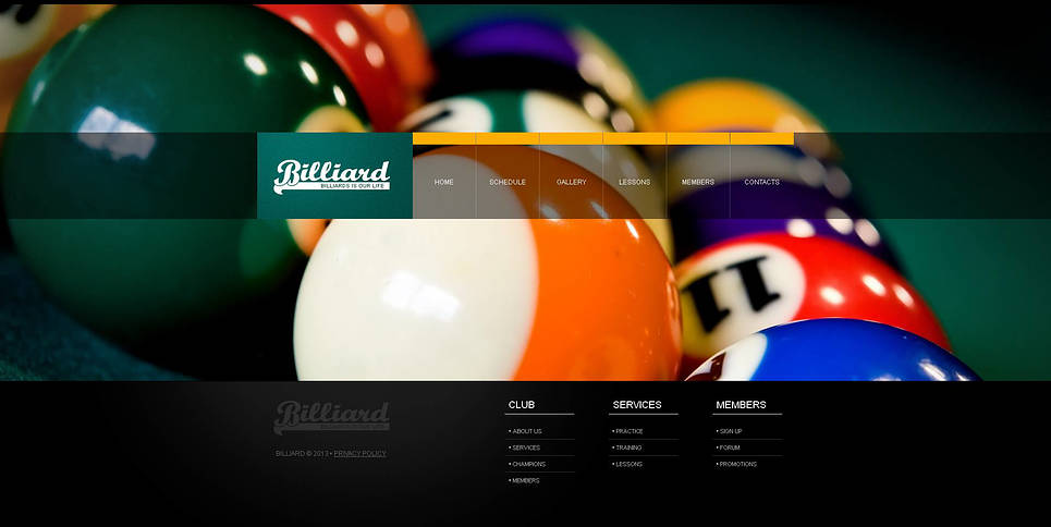 Billiards Website Template in Black and Green Tones - image