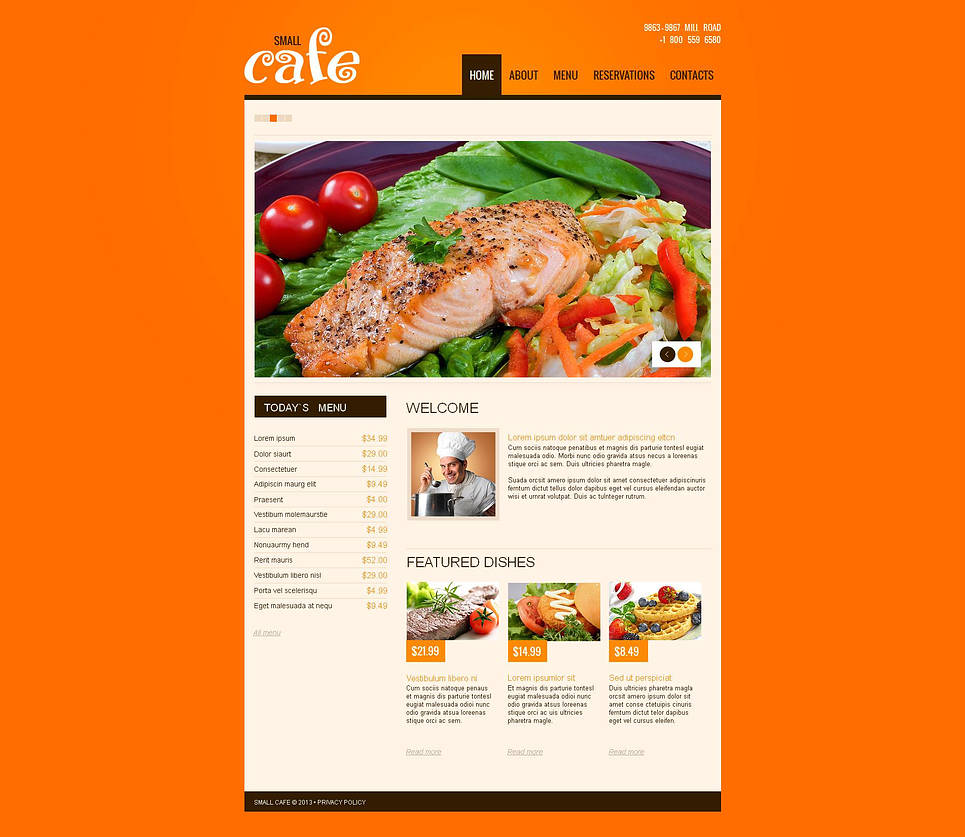 Restaurant Web Template with Rich Orange Background - image