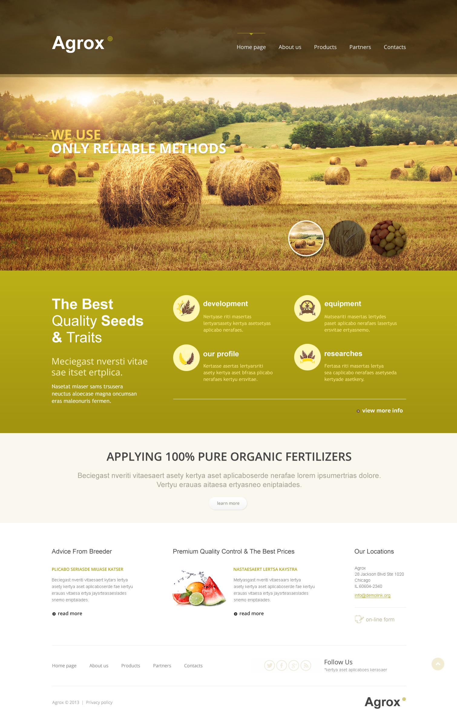 Farm responsive website template 46511 for Home plan websites