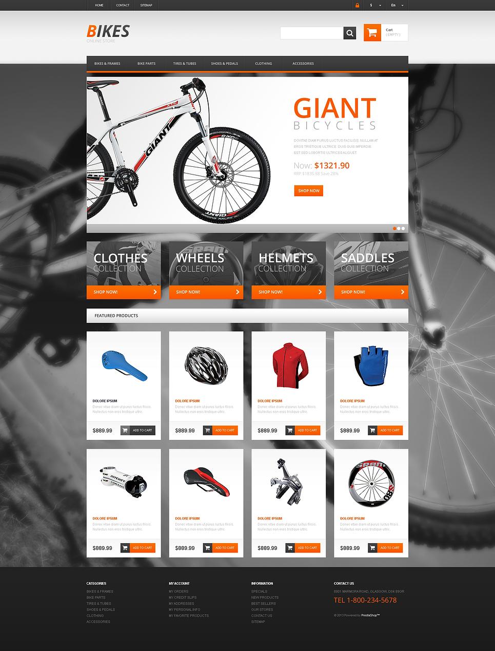 Amazing Responsive Bikes Store PrestaShop Theme