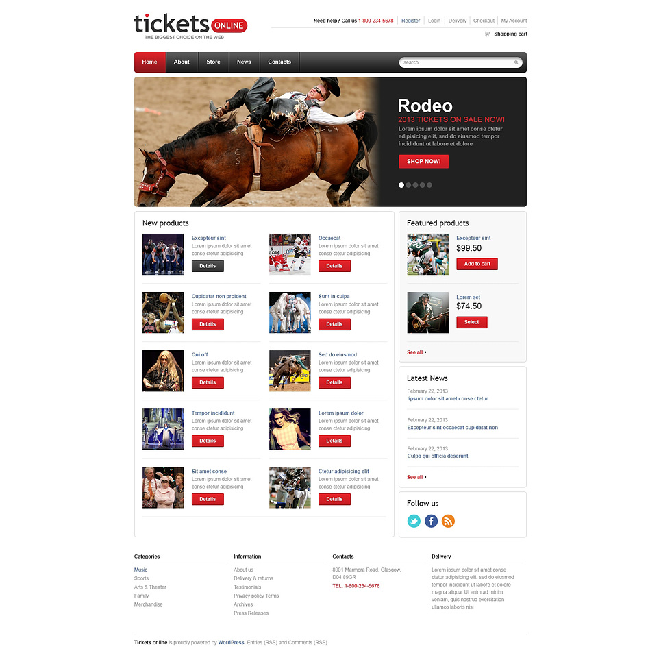 Perfect Responsive Tickets Store JigoShop Theme