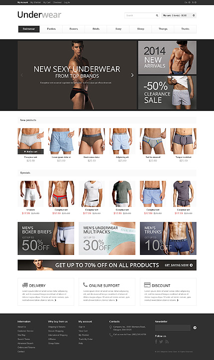 View live Demo for Sexy Underwear Store - Responsive Magento Fashion Theme