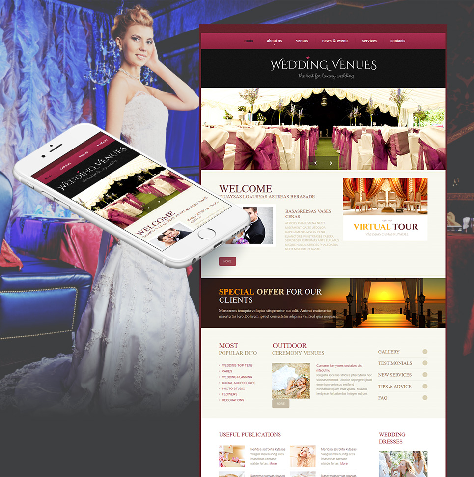 Wedding Venues Web Template On Dark Pink Background - image