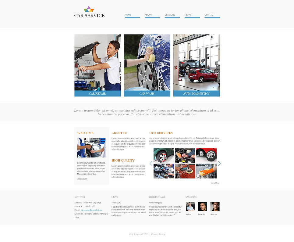Car Services Website Template in Minimalist Style - image