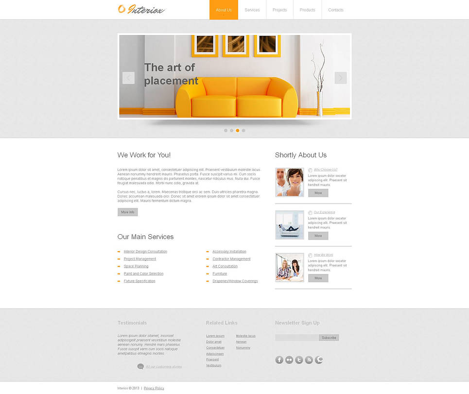 Interior Design Template with Sliding Thumbnail Gallery - image