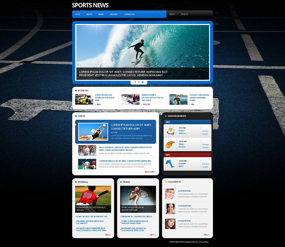 Sports Portal Website Template with Grid Gallery - image