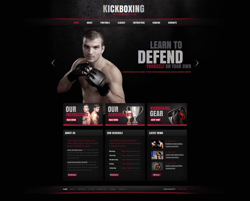 Fighting Trainings Website Template with a Black Background - image