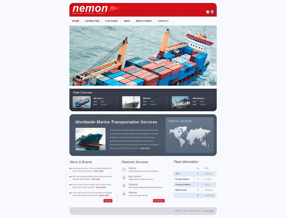 Marine Transportation Services Website Template - image