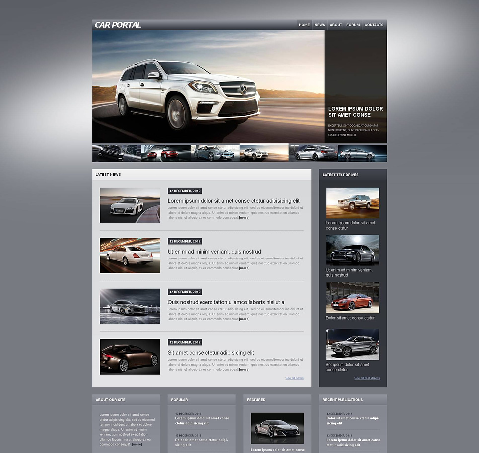 Cars Web Template with Deep Gray Background - image