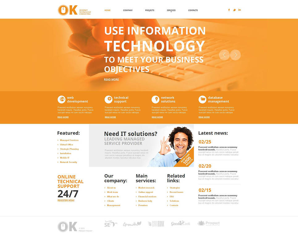 Internet Solutions Website Template with Bright Content Slider - image