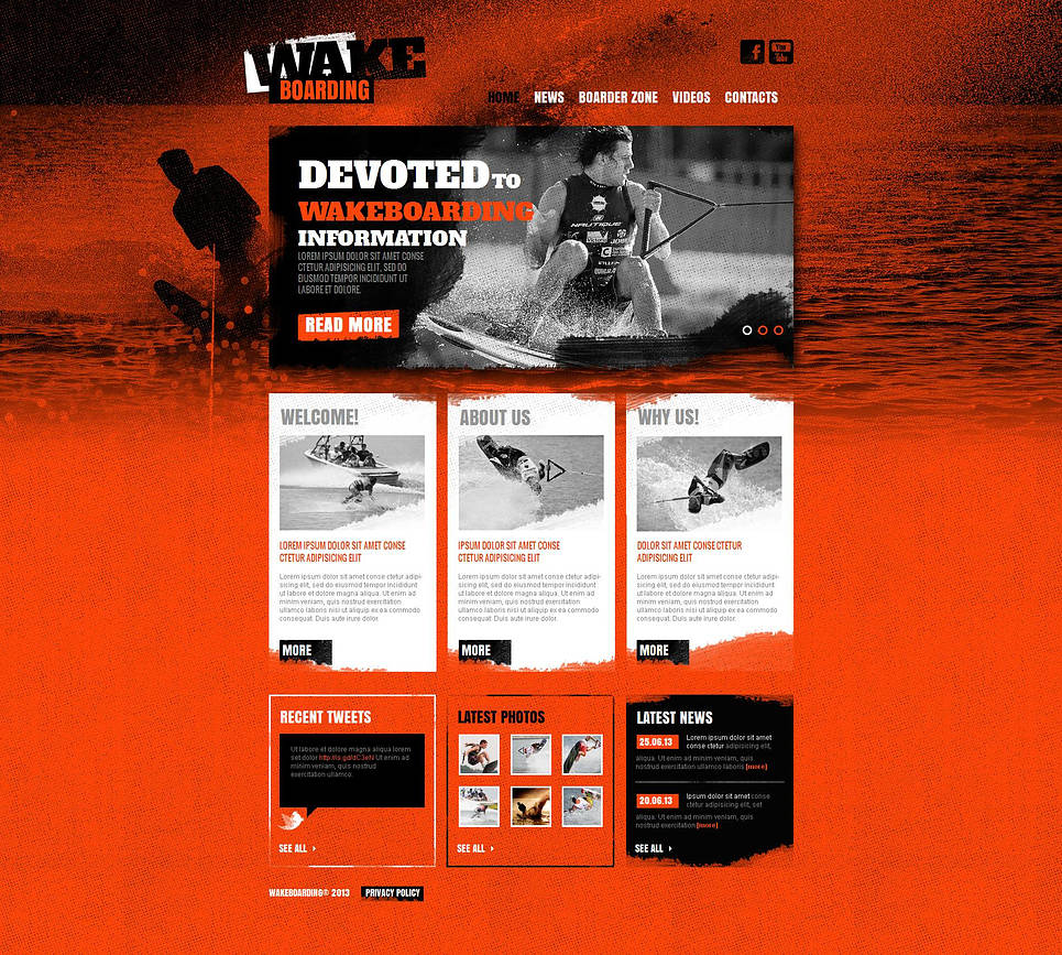 Grunge Website Template for Wakeboarders - image