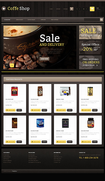 Coffee Shop - Responsive Bootstrap Based Prestashop Theme