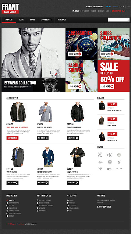 View live Demo for Mens Fashion Store - Responsive Magento Fashion Theme