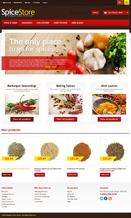 Spices store - Tangy Spice Shop Magento Theme