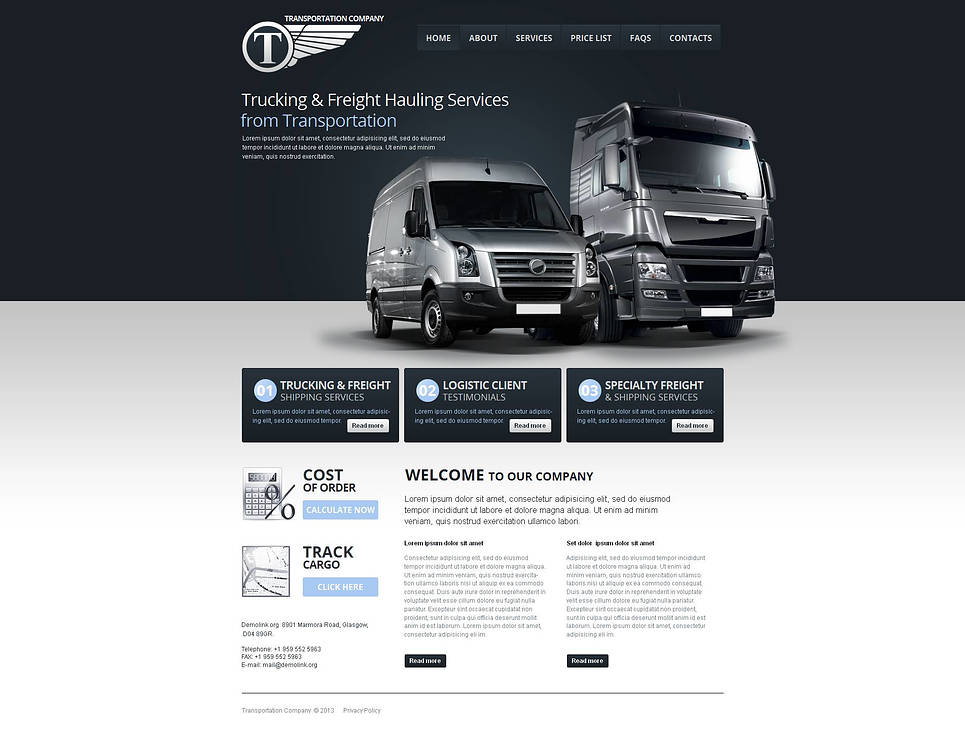 Gray-Toned Website Template for Transportation Companies - image
