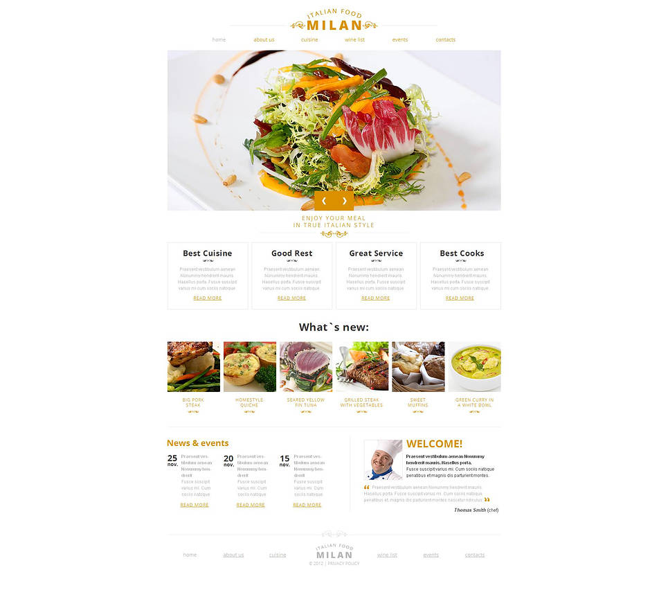Restaurant Website Template with White Background - image