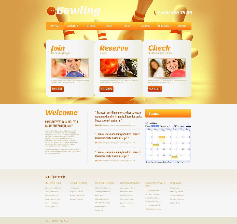 Bowling Website Template with Bright Yellow Background - image