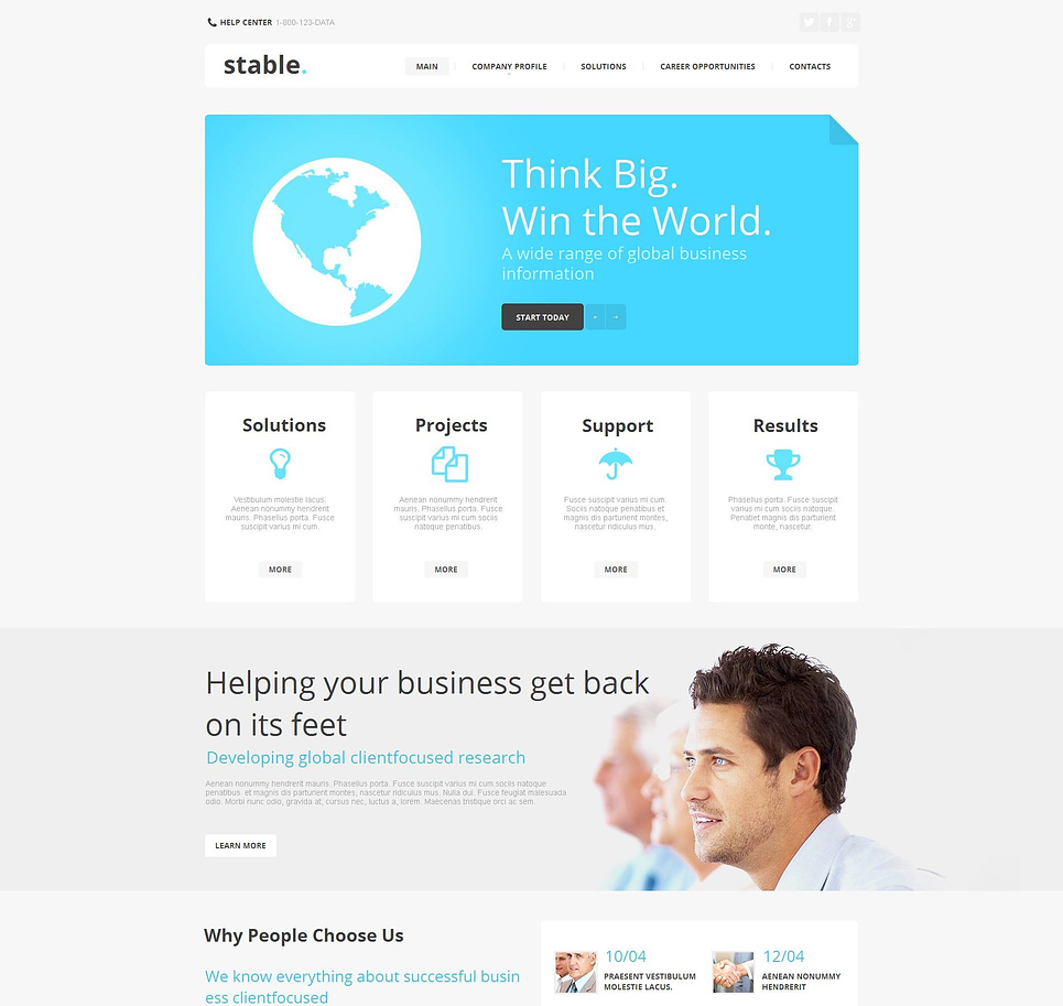 Business Website Template with Blue Accents - image