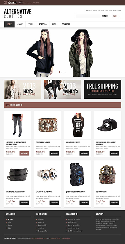 View live Demo for Alternative Clothes Store - Cherry Fully Responsive WordPress Jigoshop Theme