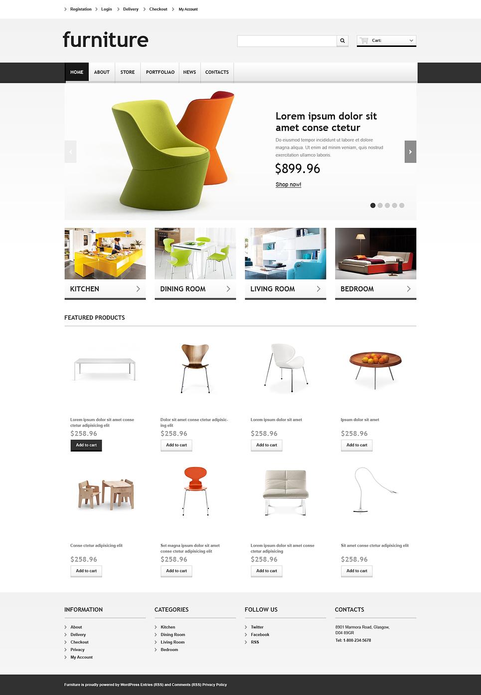 Marvelous Responsive Furniture Store JigoShop Theme