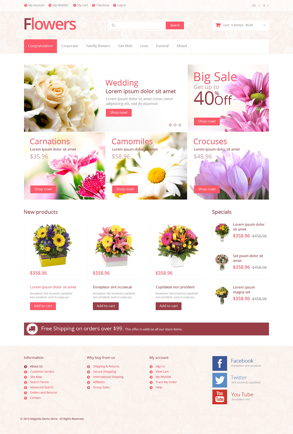 Flowers for Any Occasion Magento Theme New Screenshots BIG