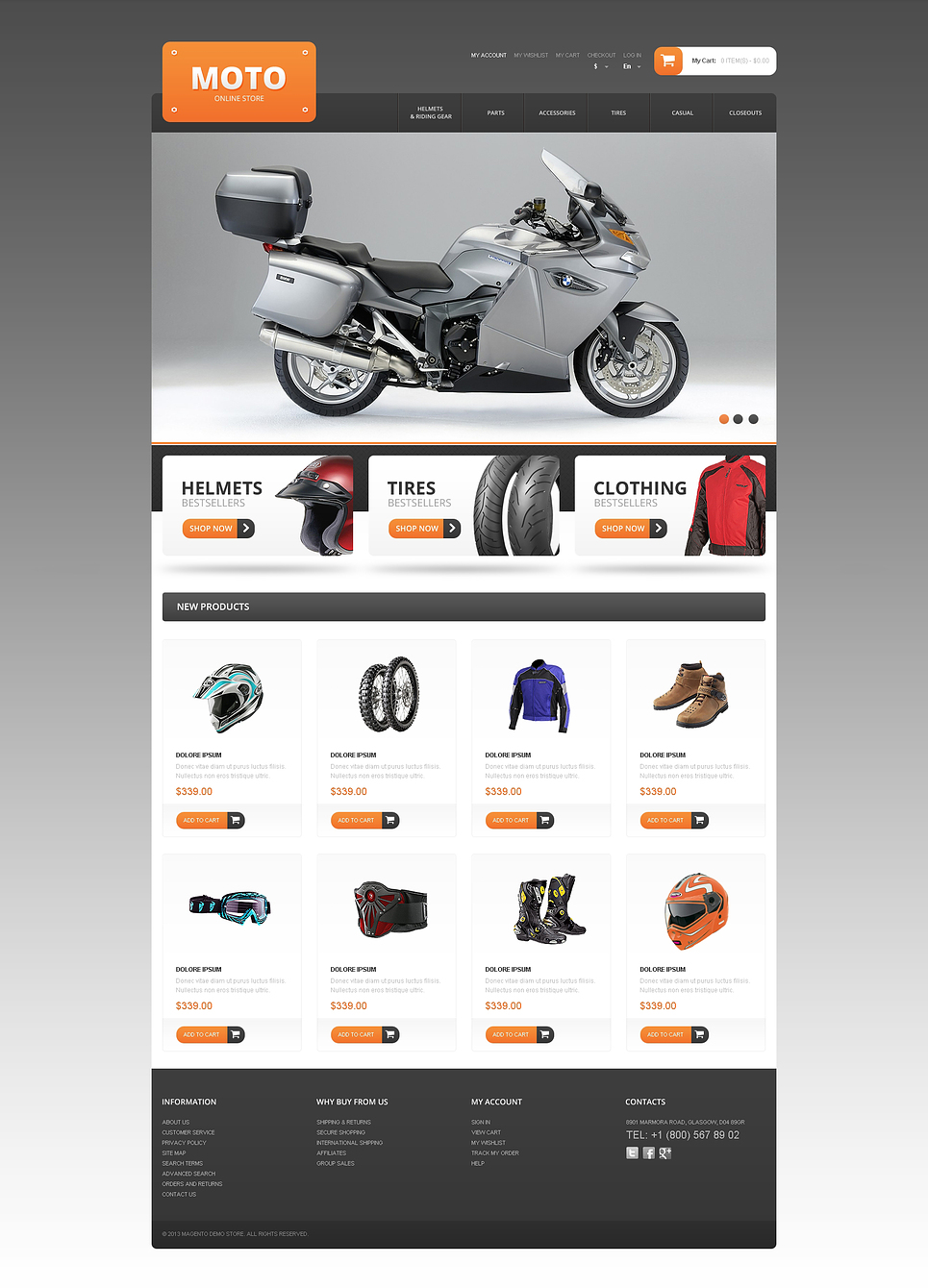 Excellent Responsive Moto Store Magento Theme
