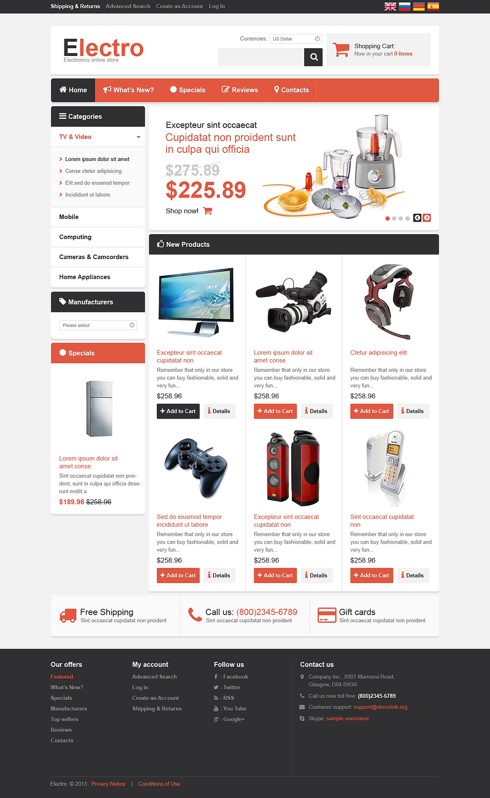Electronics for Your Home OsCommerce Template New Screenshots BIG