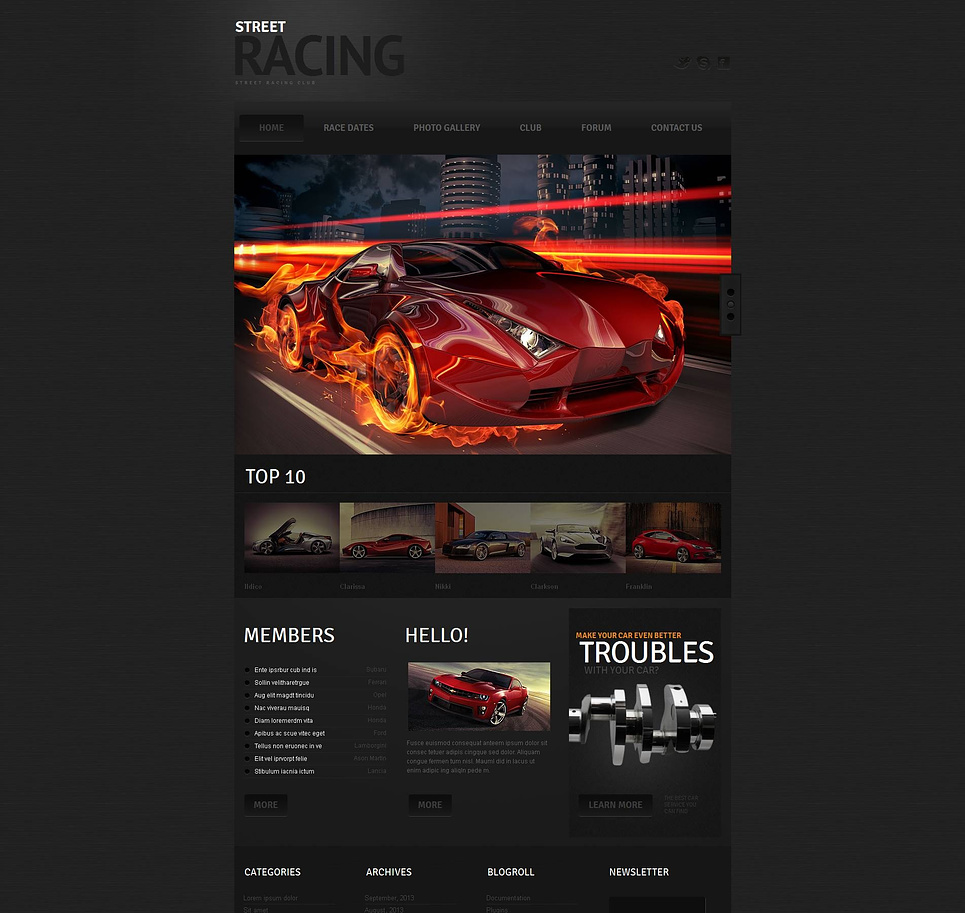 Dark Website Template for Street Racing Clubs - image
