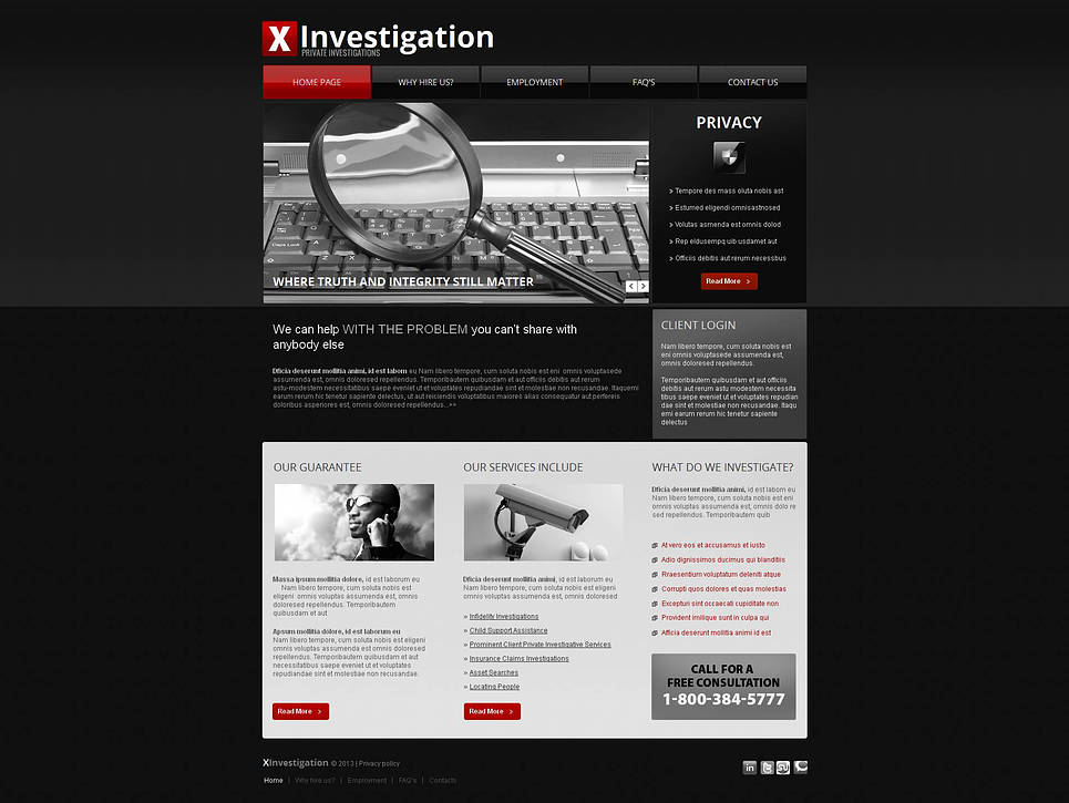 Private Investigation Services Website Template - image