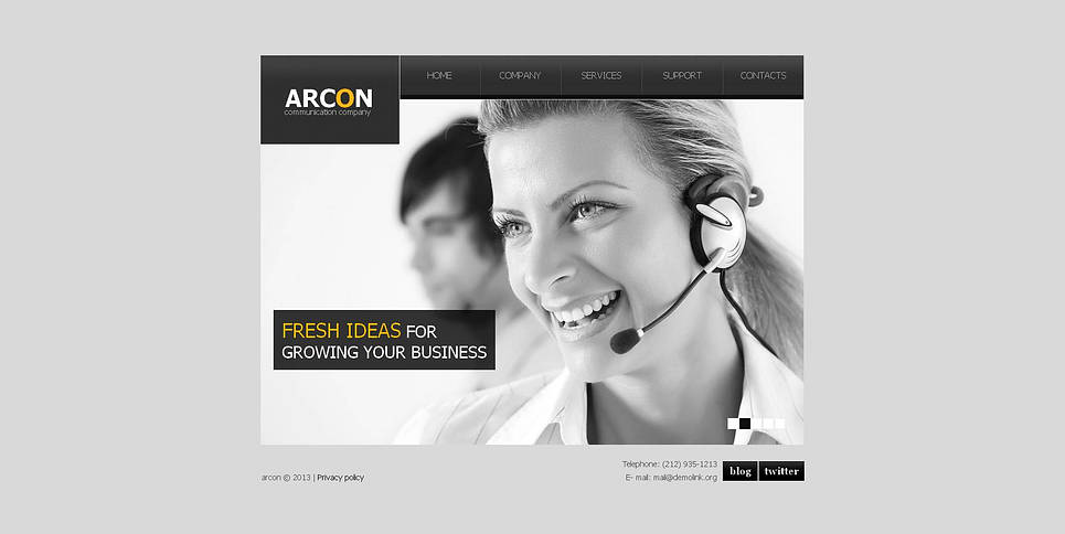 Communication Company Website Template with Photography Background - image