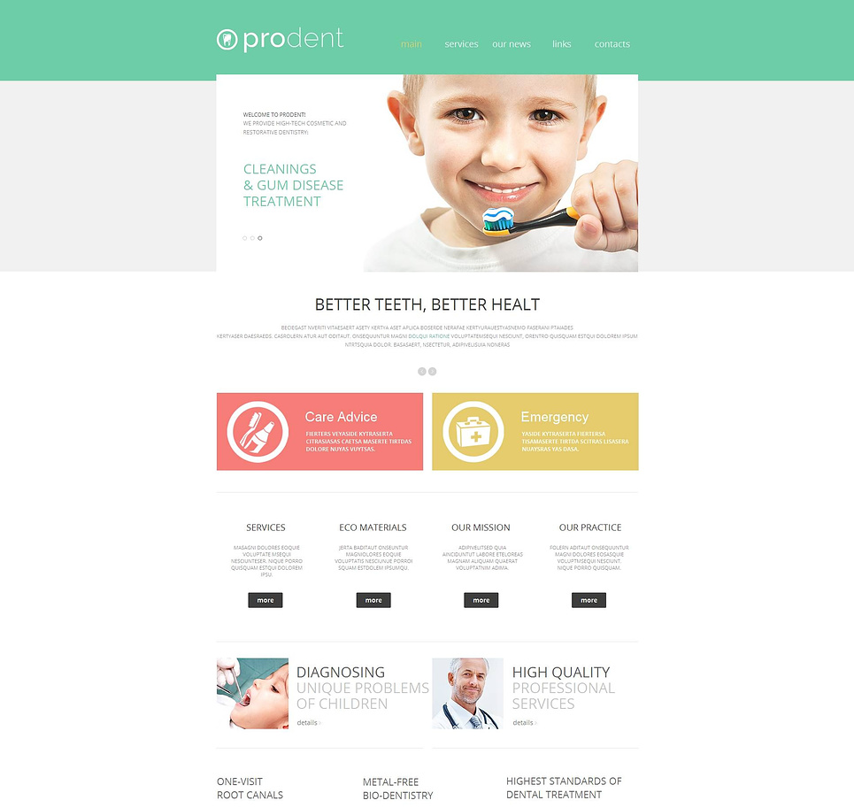 Dentistry Website Template with Green Header - image