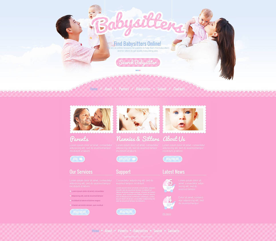 Babysitter Website Template with jQuery Photo Slider - image