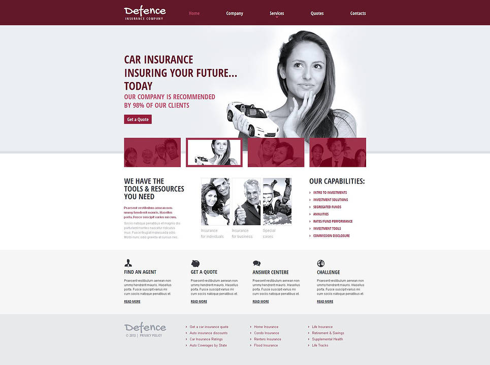 Insurance Web Template with jQuery Content Slider - image