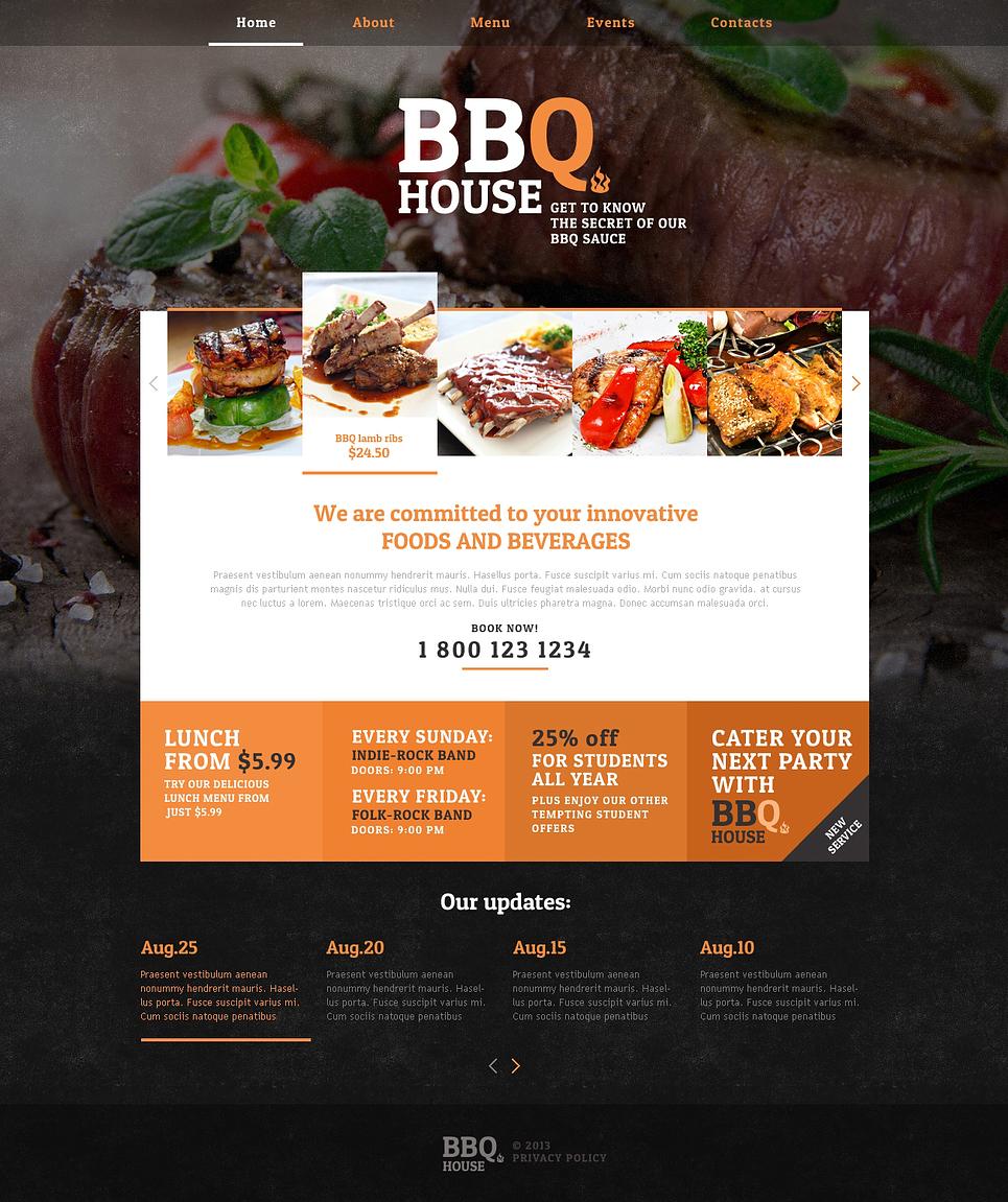 bbq restaurant responsive website template  46913