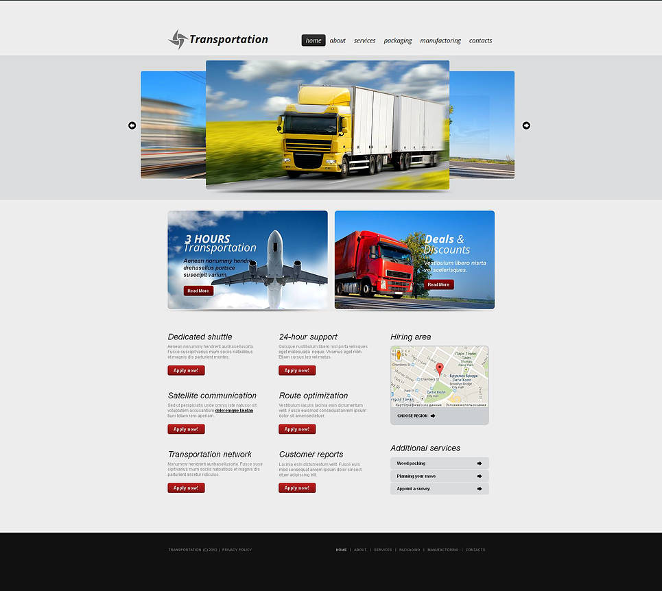 Transportation Service Provider Template with Carousel Photo Gallery - image