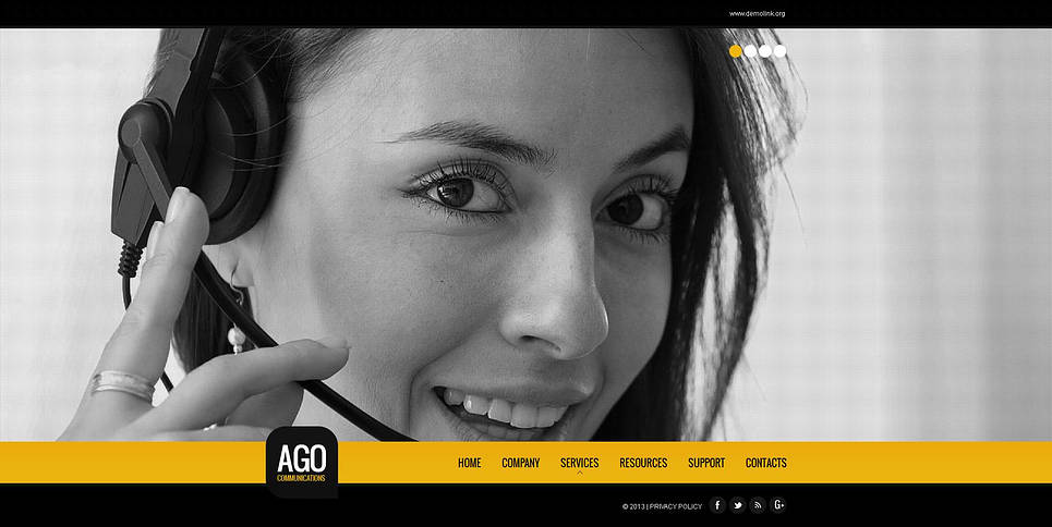 Conferencing Company Website Template in Black and Yellow Colors - image