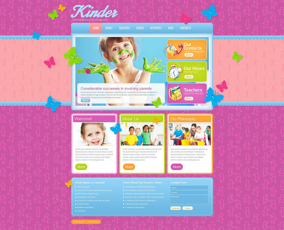 Childcare Website Template with Butterflies - image